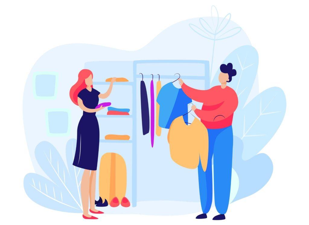women choosing cloths