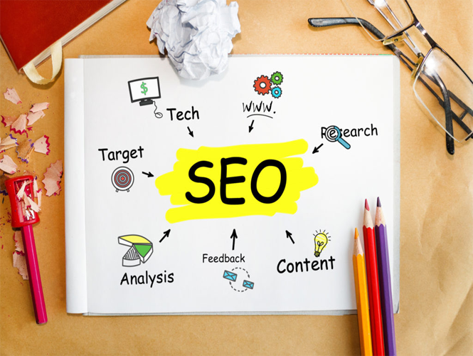 SEO text on paper