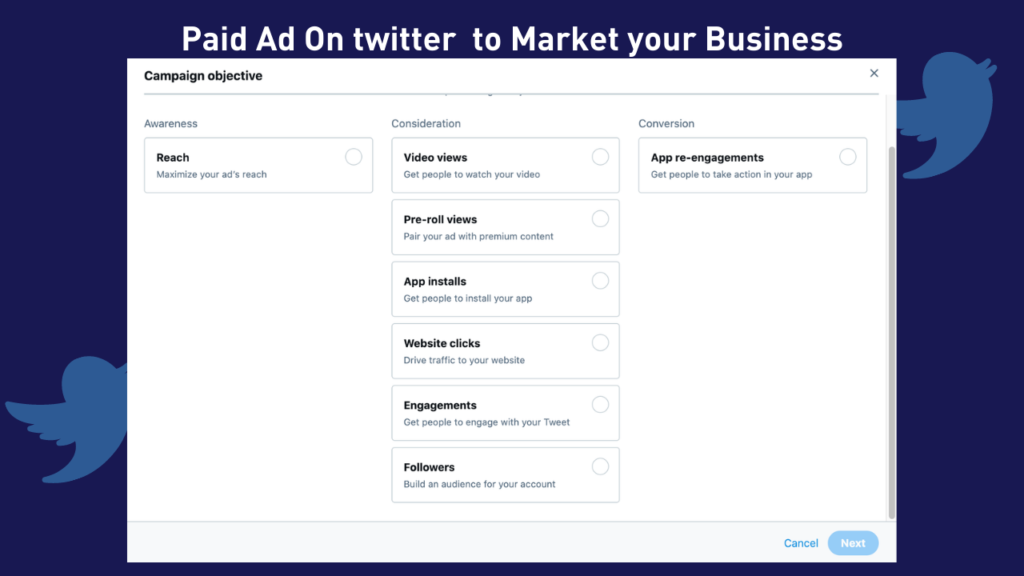 paid ad on twitter to market your Business