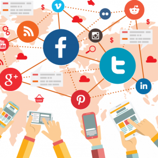 hands, social media icons connecting in world